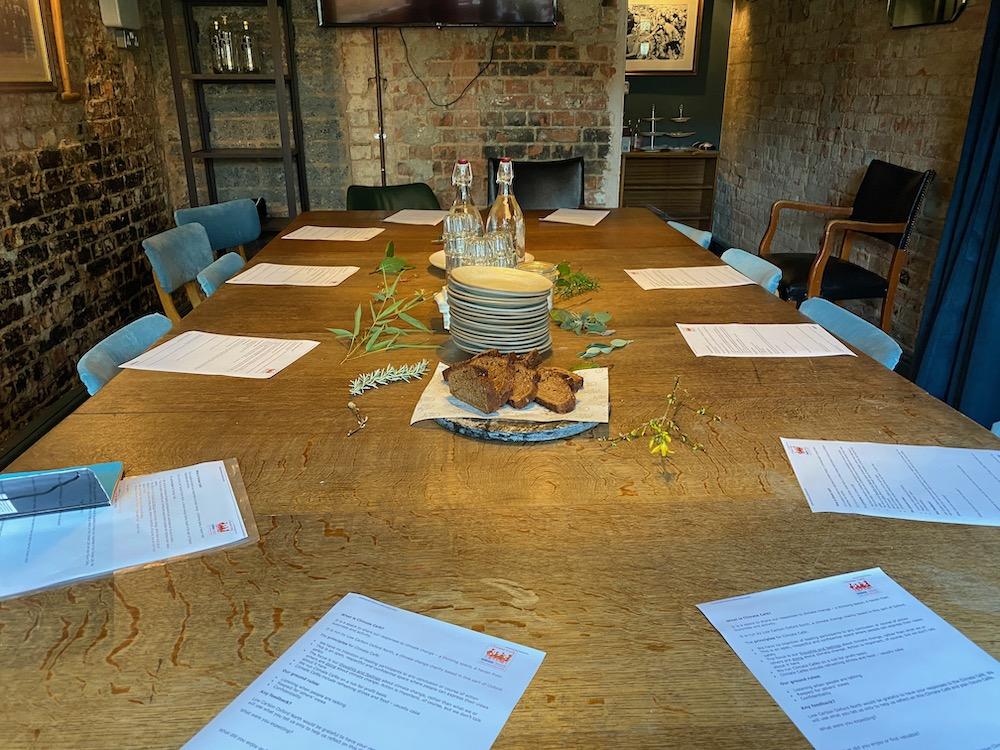 The table set for a climate café